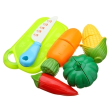 6PCS Children Play House Toy Cut Fruit Plastic Vegetables Kitchen Baby Classic Kids Toys Pretend Playset Educational Toys(China)