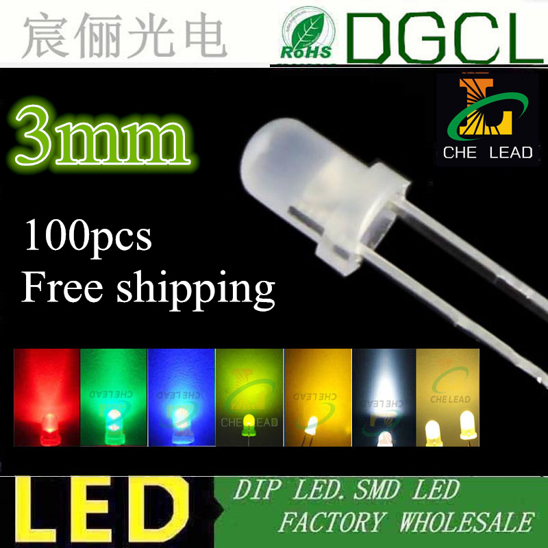 100PCS 3mm Pure Green DIFFUSED LED LEDs  Bulb  Lamp Light Free Shipping New