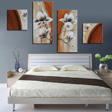 Home Decoration Wall Picture Abstract Flower Oil Painting Hand Painted Floral Wall Art Canvas Painting Modern Art 4 Panel(China)