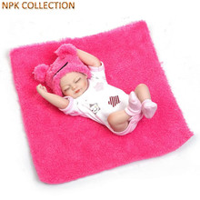 NPKCOLLECTION Mini Silicone Baby Dolls Realistic Doll Babies Bonecas with Doll Clothes and Hat,22CM Real Dolls Newborn Baby Toys