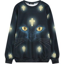 Harajuku zipper 3D Print Horror Cross Cat Sweatshirts Fashion Long sleeve Women Hoodies Cartoon Black Cat Hoody Hooded Pullover