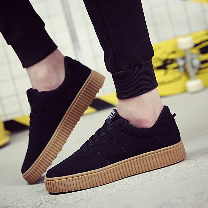 2017 New Casual Men Flock Shoes British Style Fashion Lace-Up Platform Flats For Autumn Canvas Shoes Solid 3 colors<br><br>Aliexpress