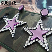 KUGUYS Fashion Acrylic Jewelry Custom Red Star Drop Earrings for Woman HipHop Large Dangle Earring Pendientes Brincos(China)