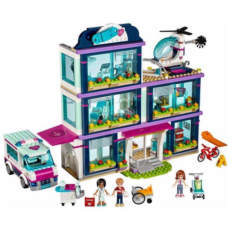 Lepin 01039 Heart Lake Love Hospital Mini Bricks Girls Friends Series LegoINGlys 41318 Hospital Rescue Center Building Block<br>