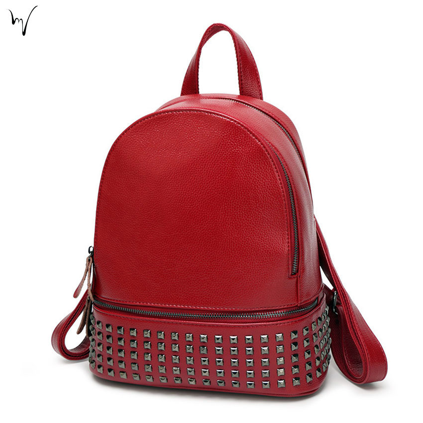 Rivet Student Bags Solid Vintage Leather Women New Throw Festival Zipper Package Daily Ladies Backpacks Valentine Discount Bag<br>