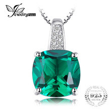 JewelryPalace Cushion 3.4ct Created Emerald Necklaces & Pendants Silver 925 Jewelry For Women Accessories Not Include A Chain(China)
