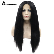 Anogol Long Yaki Straight Black High Temperature Fiber Brazilian Hair Synthetic Lace Front Wig For African American Women(China)