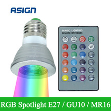 16 Colors Changing Led RGB Light 3W E27/GU10 AC: 86-265V MR16 DC:12V Spotlight High Energy  Saving Bulb 24Keys Remote Controller