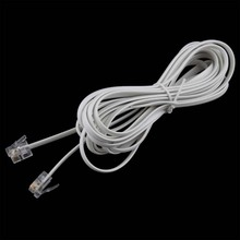 2PCS High Speed 10FT 3M RJ11 6P4C Telephone Phone ADSL Modem Line Cord Cable 4 Pin #22514