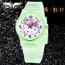 New Cute Hello Kitty Baby Clocks Swim Children Watches Rubber Band Sports Relojes Mujer Cartoon Dress Bayan Saats Enfant Ceasuie