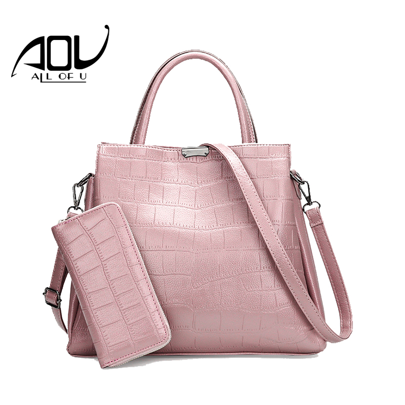 AOU luxury handbags women bags designer pink tote bag in women shoulder bag Women's purse fashion womens wallets famous brand(China)