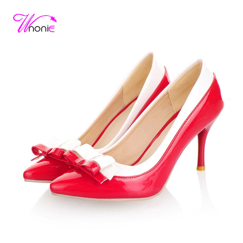 2017 Fashion Women Basic Pumps High Heels Pointed-toe PU Patent Leather Bowtie Patchwork Spring Autumn Party Dress Ladies Shoes<br><br>Aliexpress
