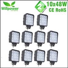 Square design flood beam 10 PCS IP67 waterproof Spot Beam Offroad truck 4x4 led driving light 48w led work light(China)
