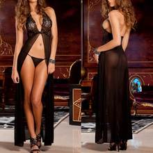 Buy Sexy Lingerie Women Transparent Lace Baby Doll Dress G-string Babydoll Erotic Costumes Sleepwear Sexy slit skirt black purple