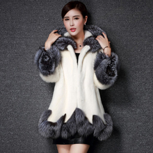 faux fur coat women white gray with fur hat fur jacket mink luxury women long coat Imitation fur jacket women coat plus size 6XL