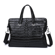 Briefcase Luxury Crocodile Men Bag 14 inch Business Work Laptop Computer Bag Genuine Leather Casual Handbag Messenger Totes Bags