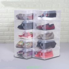 5 Pcs New Clear Home Shoe Boot Box Plastic shoebox Stackable Foldable Storage Closet Organizer