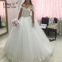Lace Cap Sleeves Wide Appliques Wedding Dress High Quality Princess Bridal Dress Pearl Beading Vestido De Noiva Princesa Luxo