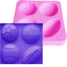 Mini Football Basketball Half Soccer Rugby and Tennis Ball Shape DIY Silicone Mold Fondant Cake Decoration Mould M214(China)