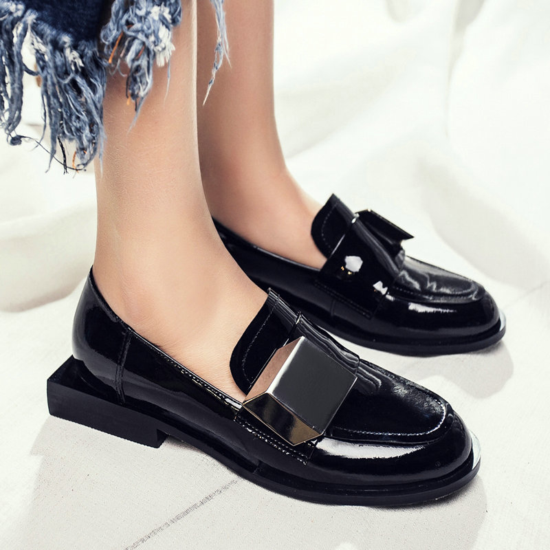 AIWEIYi Spring Fall Shoes Woman Black Casual Slip On Loafers Patent Leather Platform Ladies Shoes Genuine Leather Flats Shoes<br><br>Aliexpress