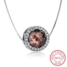 "Authentic 925 Sterling Silver Radiant Hearts Brown Crystal & Clear CZ Floating Charm pendant with 0.7mm snake chain necklace 18""(China)"