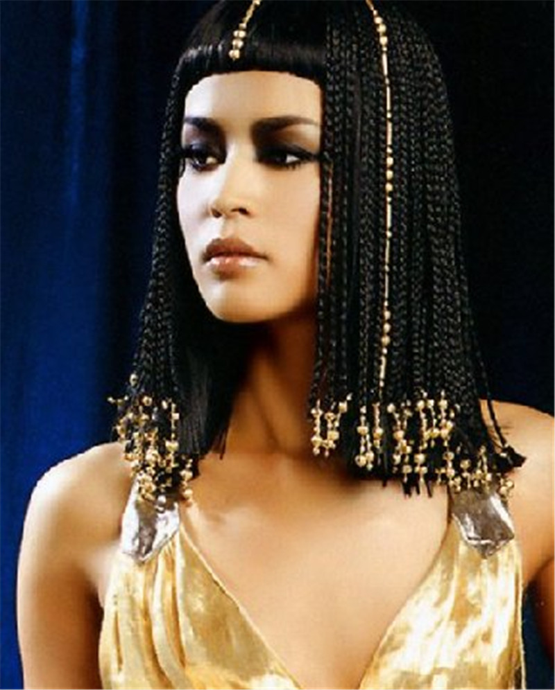 Long Braid Black Wigs Egypt Cleopatra Wigs with Neat Bangs High Quality Synthetic Hair Wig Hot Sale Online 018(China (Mainland))