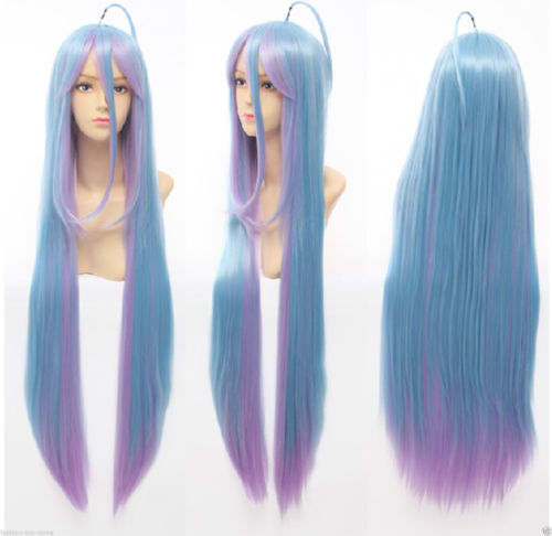 D765R   HOT sell Free Shipping &gt;&gt;&gt;Anime No Game No Life Shiro 100cm Mixed Blue&amp;Purple Fade Cosplay hair Wig<br><br>Aliexpress