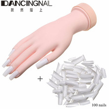 Silicone Prosthetic Practice Hand Soft Flexible Practice Nail Art Hand +100 Nails For New Beauty Nail Art Manicure Tools