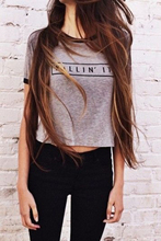 Killin It Grey Fashion Women Summer Top Letters Print T shirt Sexy Slim Funny Top Tee Black Crop Tops(China)