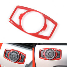 BBQ@FUKA 1Pcs Car Head Light Button Switch Cover Trim Frame Silver/Red/Blue ABS Fit For 2015 2016 Ford Mustang F150 Car-Styling(China)