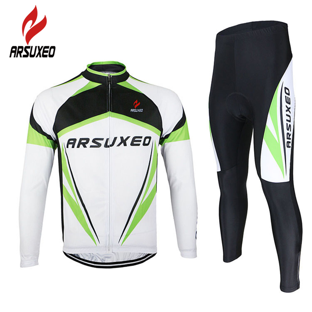 ARSUXEO Road Bike Bicycle Long Sleeves Quick Dry Wear Clothing Sets Mens Outdoor Sports Cycling Jersey Top + 3D Gel Paded<br>