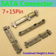 SATA Connector/Plug, Offset type Male Adapter , SSD/HDD Connector, SMT,Locating Peg,H=1.4mm ,SATA 22P Connector, 7pin + 15pin