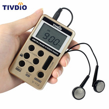 TIVDIO Portable Radio FM/AM Digital Portable Mini Receiver With Rechargeable Battery& Earphone Radio Recorder F9202