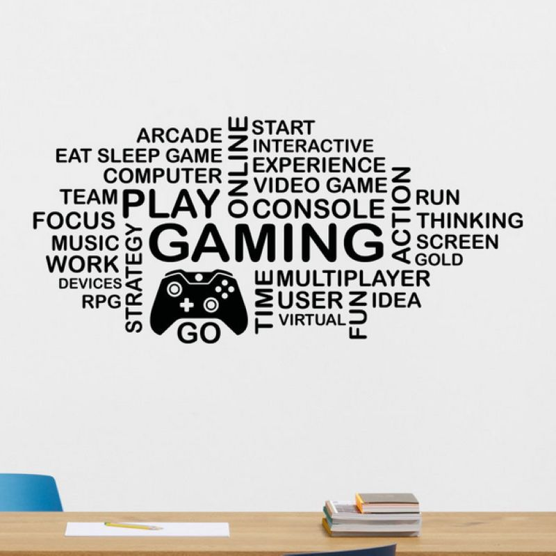 DCTAL Game Handle Sticker  Play Gamer Decal Gaming Posters Gamer Vinyl Wall Decals Parede Decor Mural Video Game Sticker