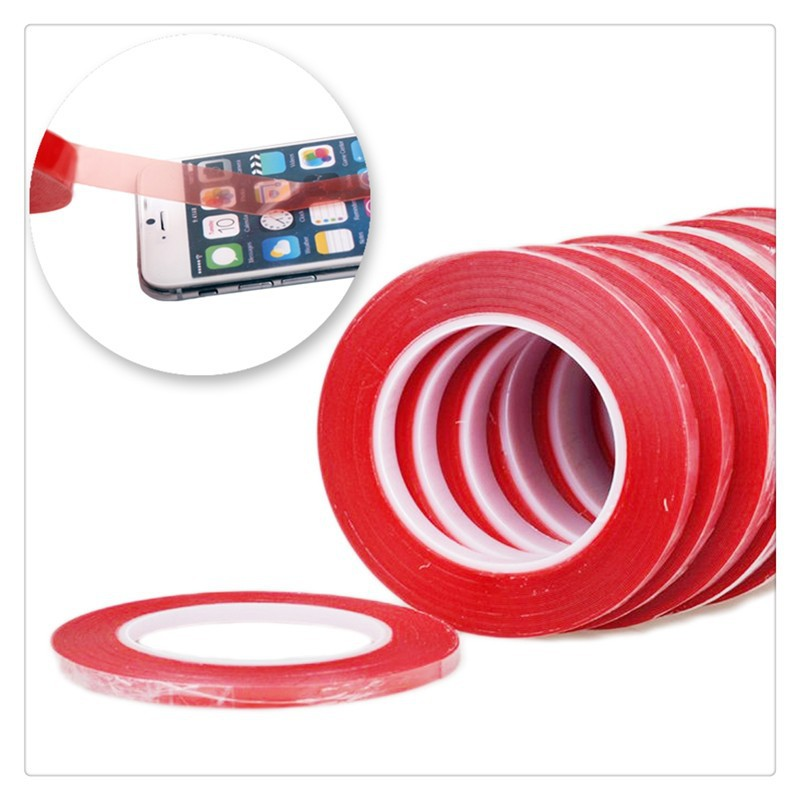 5mm*25m Red Double Side Adhesive Tape Phone Sticker Acrylic Gel Adhesive Mobile Phone Stickers Tape For Mobile Phone LCD Screen(China (Mainland))
