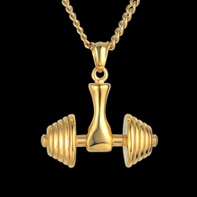 Hip Hop Chain Fitness Dumbbell & Barbell Pendant Necklace Cool Gift for Men 3 Colors Gold Color Heavy Big Necklaces Male Jewelry(China)