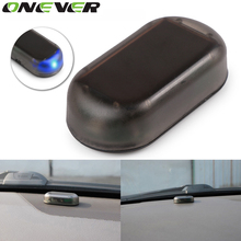 Onever Car Alarm System Solar Power Auto Car Alarm Security Warning Anti-Theft Caution LED Light Blue Color
