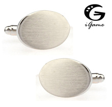 iGame Engravable Cufflinks Silver Color Drawbench Oval Design Copper Material Free Shipping(China)