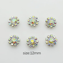 10 pcs 12mm AB Rhinestone Button, Flat Crystal Rhinestone Buttons Sew Flower Center.(China)