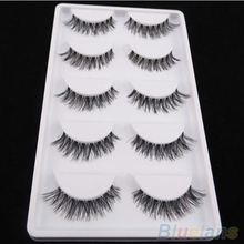 Latest 5 Pairs Lot Black Cross False Eyelash Soft Long Makeup Eye Lash Extension 4CCZ(China)