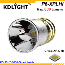 KDLITKER P6-XPLHI Cree XP-L HI White 6500K/ Neutral White 4500K/ Warm White 3000K 800 Lumens 3V-9V LED P60 Drop-in (Dia 26.5mm)
