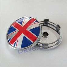 4 Pieces Car Blue Red UK Flag Logo ABS Alloy Chrome Rim Custom Wheel Hub Center Centre Caps 60mm Hubcaps Cover