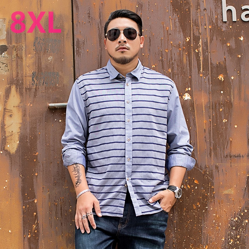 8XL 6XL 5XL 4XL Men's Flannel Shirts striped Dress 2018 Male Casual Soft Comfort Long Sleeve Shirt Clothes camisa masculina