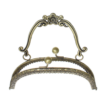DoreenBeads Metal Frame Kiss Clasp Arch For Purse Bag Antique Bronze(Hold ss10)Flower Handle(Open:23x16.5cm)16.5x15cm,1 Pc