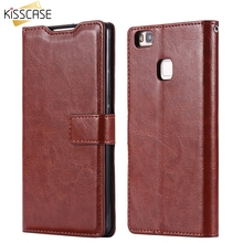 KISSCASE Leather Pattern Case for Huawei P9 Lite 5.2'' Retro Wallet Card Slot Flip Stand Photo Frame Accessories For P9 Lite