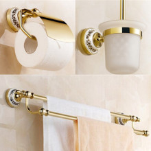 Golden Bathroom accessories set paper holder+toilet brush holder+double Towel Bar solid brass 3pcs bath accessory set(China)
