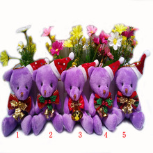 2 pcs/lot,Christmas purple jointed Teddy Bear, Christmas joint bear, Christmas tree decorations, Christmas tree ornaments  t