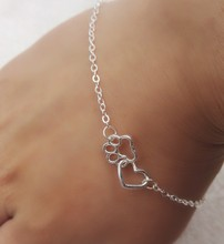 Fashion silver Plated Lovely HEART Dog Cat paw Print Chain Bracelet Love heart friendship Mother and Child daughter Jewelry Gift