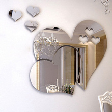 3D Silver Hearts Mirror Wall Stickers Decal DIY Art Mural Removable Home Room Decor TB Sale(China)