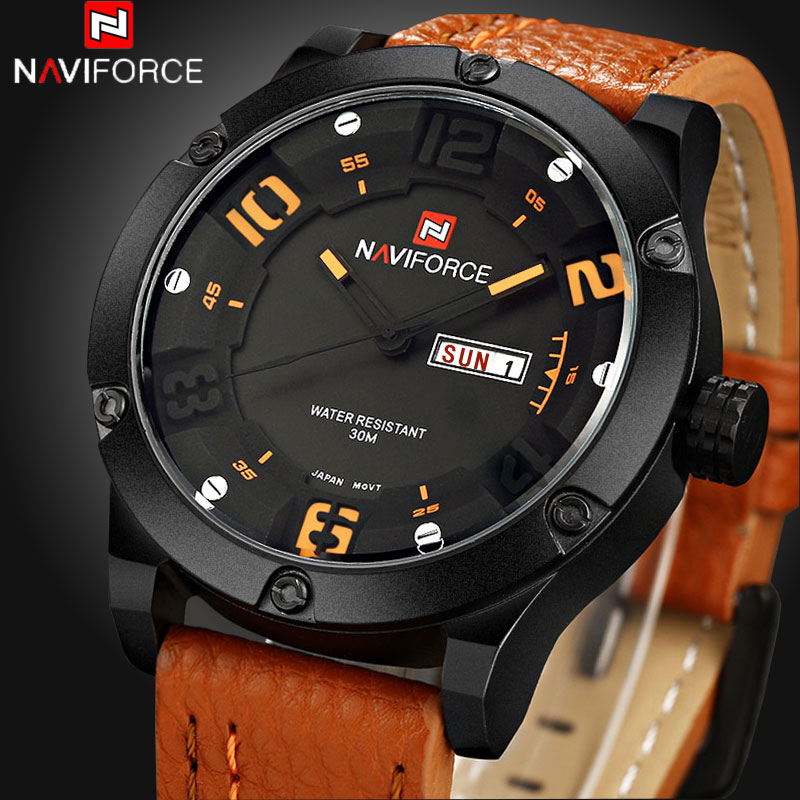 NAVIFORCE Brand Watches men Casual Quartz reloj Leather wristwatch Army Military reloj hombre mens clock relogio masculino<br><br>Aliexpress